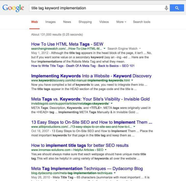 title tag keyword implementation