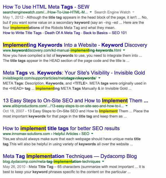 implement keywords