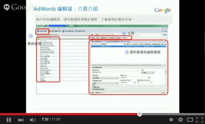 Google AdWords 關鍵字廣告 進階搜尋 AdWords編輯器 介面