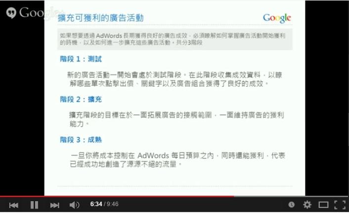 Google AdWords 關鍵字廣告 進階搜尋 投資報酬 擴充
