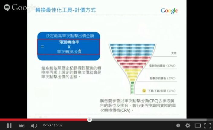Google AdWords 關鍵字廣告 進階搜尋 轉換最佳化工具 計價