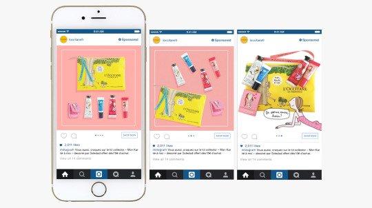 法國零售商品牌歐舒丹使用instagram輪播式廣告