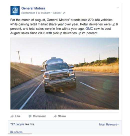 通用汽車頻頻發布宣導式文章