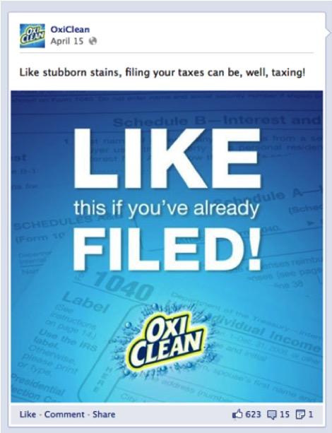 清潔用品大廠Oxiclean在Facebook上貼文直接討讚