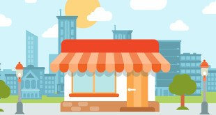 Flat style modern tiny friendly shop showcase in the city web concept vector. Little store with marquise sunblind stands on the street edge. Small business retail website conceptual illustration.