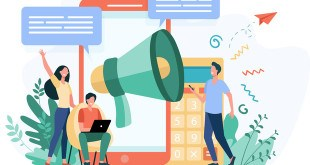 Bloggers advertising referrals. Young people with gadgets and loudspeakers announcing news, attracting target audience. Vector illustration for marketing, promotion, communication concept