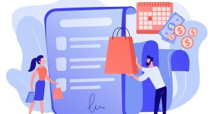 Installment purchase offer, shopping business, convenient customer service. Deferment of payment, net payment terms, buy now pay later concept. Pink coral blue vector isolated illustration
